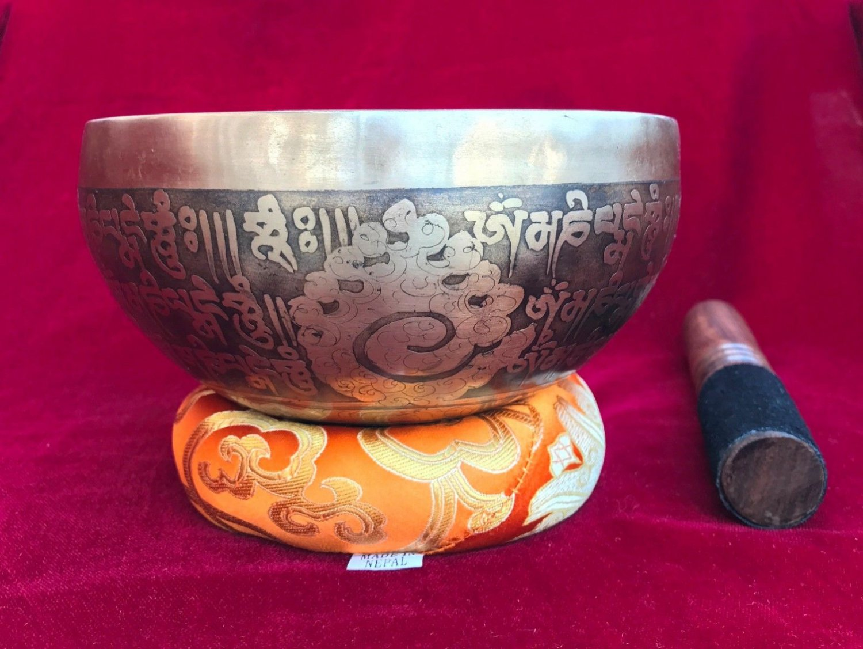 Handmade Mantra Carved Tibetan Singing Bowl 6.5 inch