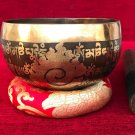 "Mantra Etched Carved Handmade Singing Bowl 5.2 "" with Free Cushion and Mallet"