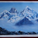Mount Everest Highest peak of the world Acrylic Painting in Canvas NOT A PRINT