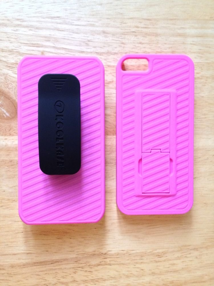 Hard Belt Clip Case Holster Desktop Stand Cover For iPhone 5 5S  Pink & Black