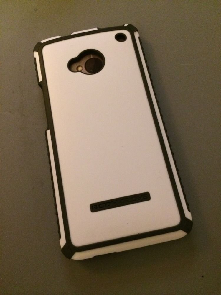 HTC One Body Glove Tactic Case Cover  White w/ Grey  ATT, Sprint, T-Mobile