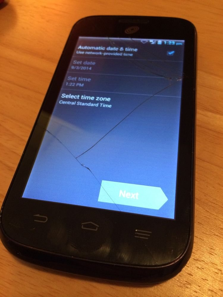 Straight Talk ZTE Savvy Z750C  Black Android Smartphone w/ Cracked Digitizer