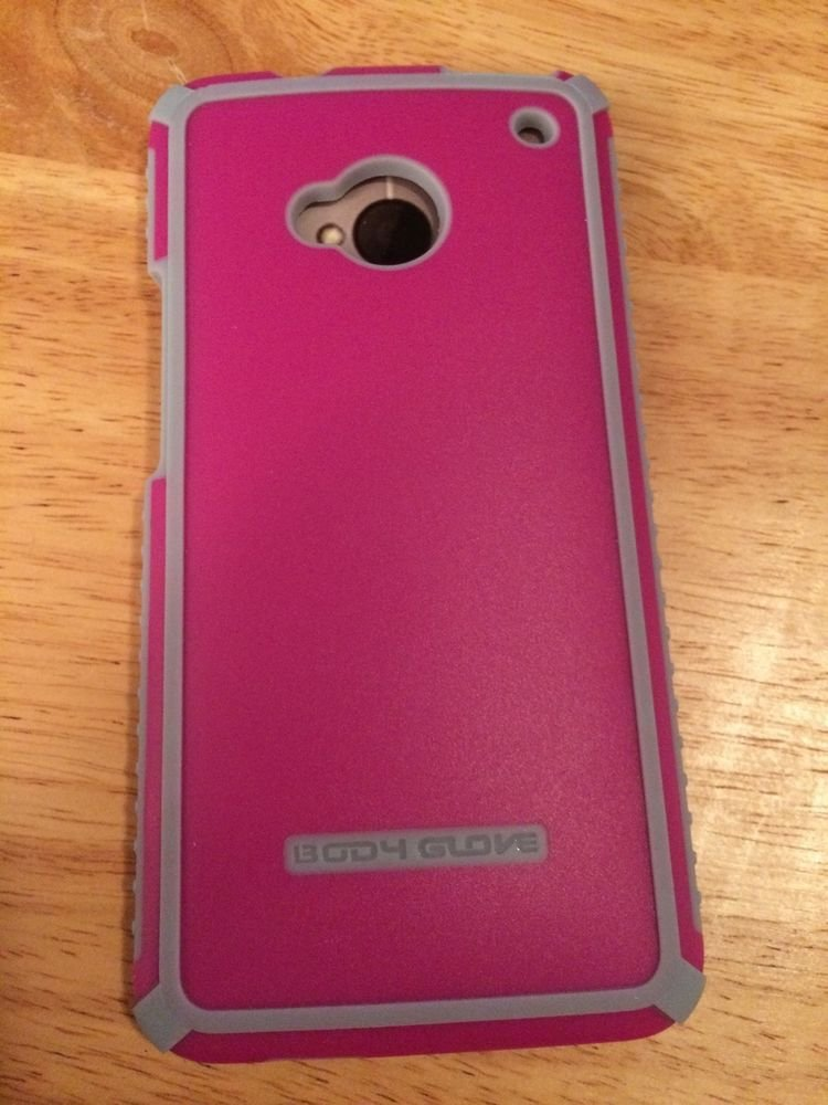 HTC One Body Glove Tactic Case Cover  Pink w/ Grey  ATT, Sprint, T-Mobile