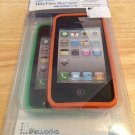 LifeWorks TPU Flex Case for iPhone 4 4S  -  2(two) Pack  Green & Orange