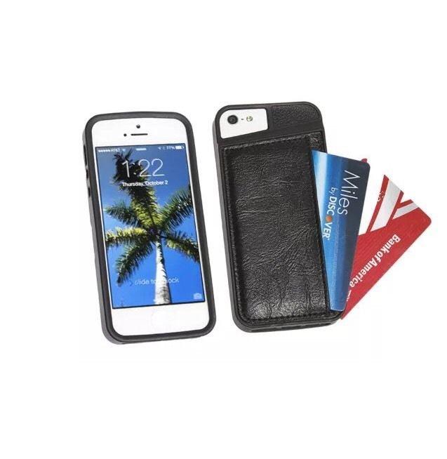 iPhone 5 5S Faux Leather Card/Wallet Case TPU Shock Resistant Edges Black