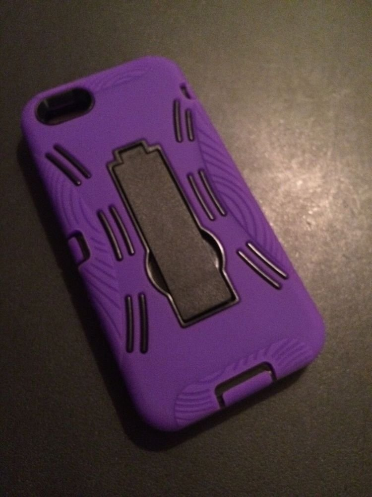 iPhone 5 Defender Case w/ Kickstand  iPhone 5S   Purple / Black Heavy Duty Cover