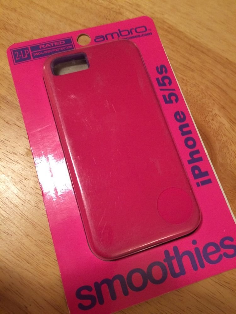 ambro iPhone 5 5S Dual Layer Case Pink Purple Smoothies 2 Layers