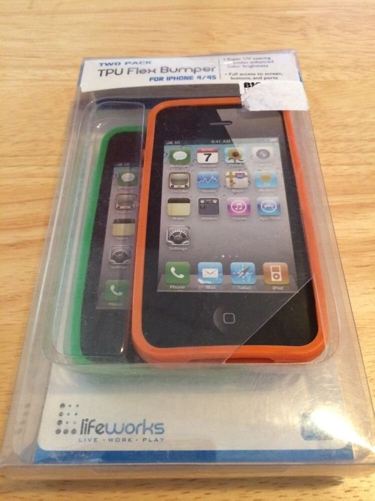 iPhone 4 4S LifeWorks TPU Case Cover   2(two) Pack  Green & Orange