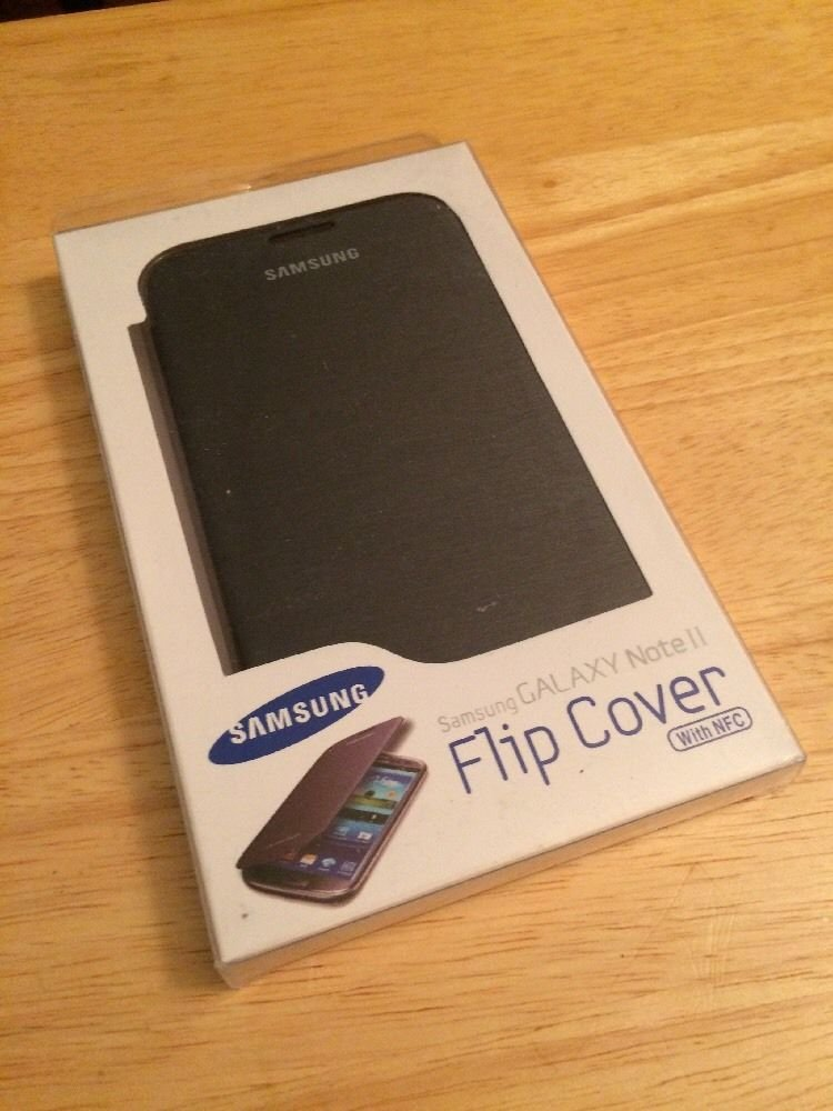 Genuine OEM Samsung Flip Cover Case for Samsung Galaxy Note 2 II Titanium w/ NFC