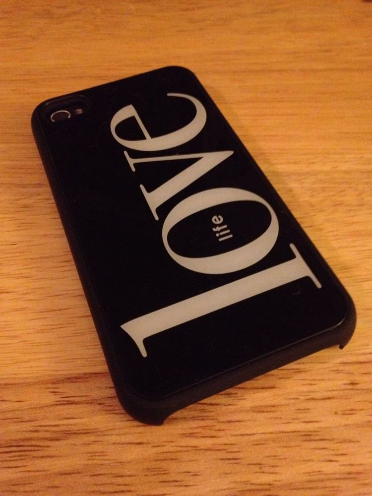 iPhone 4 4S Smoothies Hard Shell Case Cover Love My Life  Classic Black / White