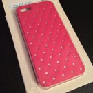 iPhone 5 5S Case w/ Bling Jewels Crystals  Faux Leather Diamond Pattern Pink