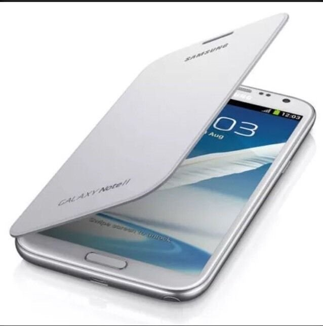 Genuine OEM Samsung Flip Cover Case for Samsung Galaxy Note 2 II White w/ NFC