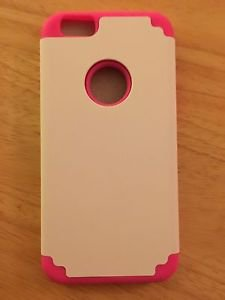 iPhone 6/6S Dual Layer Case Pink/White Silicrylic Style  Armor Case US Seller