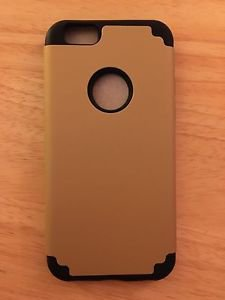 iPhone 6/6S Dual Layer Case Black/Gold  Hybrid Armor Soft Inner Hard Outer USA
