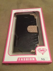 iPhone 5 5S Leather Flip Case w/ Bling Jewels Crystals  Naked Shell