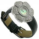 Royal Crown Flora CZ Black Jewel Watch