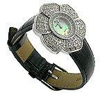 Royal Crown Flora CZ Black Jewel Watch