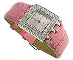 Modern CZ Pink Genuine Leather Jewel Watch
