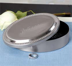 Brushed Oval Beaded Jewelry Box