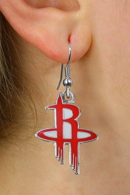 SWW20991E - HOUSTON ROCKETS SILVER TONE FISH HOOK EARRINGS
