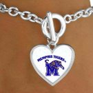"SWW13790B - LICENSED UNIVERSITY OF MEMPHIS ""TIGERS"" LOGO HEART BRACELET"