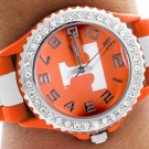 """SWW20380WT - UNIVERSITY OF TENNESSEE """"T"""" LOGO SILICONE RUBBER & AUSTRIAN CRYSTAL WATCH"""