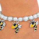 SWW2922B - YELLOW AND BLACK HORNET, YELLOW JACKET, BEE SILVER TONE STRETCH CHARM BRACELET
