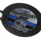 SWW19680KC - CAROLINA PANTHERS GENUINE BLACK LEATHER FRAMED KEY CHAI