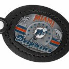 SWW19672KC - MIAMI DOLPHINS  GENUINE BLACK LEATHER FRAMED KEY CHAIN