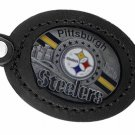 SWW19678KC - PITTSBURGH STEELERS  GENUINE BLACK LEATHER FRAMED KEY CHAIN