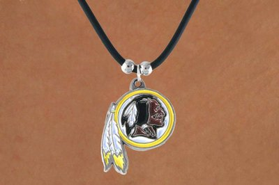 SWW14948N - WASHINGTON REDSKINS BLACK CORD LOGO NECKLACE