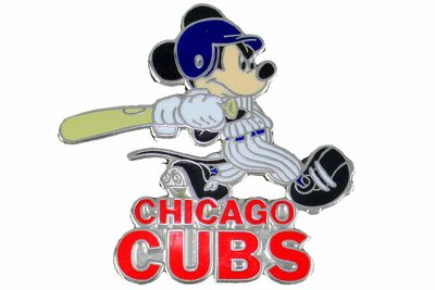 SWW21007P - SILVER TONE CHICAGO CUBS AND MICKEY MOUSE LOGO LAPEL PIN