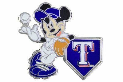 SWW21003P - SILVER TONE TEXAS RANGERS  AND MICKEY MOUSE LOGO LAPEL PIN