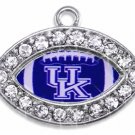 SWW1461SC - CRYSTAL  MINI-FOOTBALL SHAPED CHARMS WITH  THE UNIVERSITY OF KENTUCKY LOGO