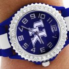 """SWW20382WT - """"UK"""" LOGO BLUE AND WHITE STRIPED  SILICONE RUBBER & AUSTRIAN CRYSTAL  WATCH"""