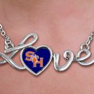 "SWW20704N - POLISHED SILVER TONE SCRIPT ""LOVE""  SAM HOUSTON UNIVERSITY PENDANT  NECKLACE"