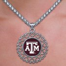 "SWW20319N - TEXAS A&M UNIVERSITY  ""AGGIES"" ANTIQUED SILVER TONE CIRCLE  NECKLACE"