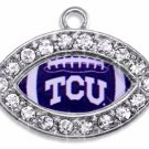 SWW1466SC - CRYSTAL  MINI-FOOTBALL SHAPED CHARMS WITH  THE TEXAS CHRISTIAN UNIVERSITY LOGO