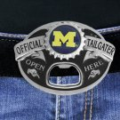 """SWW17643BK - UNIVERSITY OF MICHIGAN WOLVERINES """"OFFICIAL TAILGATER"""" BELT BUCKLE WITH BOTTLE OPENER"""