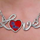 "SWW20703N - POLISHED SILVER TONE SCRIPT ""LOVE""  UNIVERSITY OF MISSISSIPPI ""OLE MISS"" PENDANT"