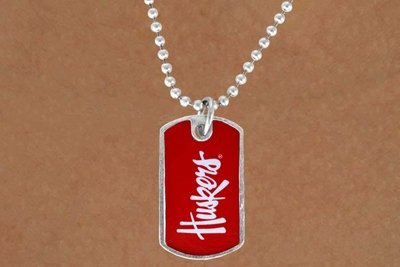 "SWW13817N - LICENSED UNIVERSITY OF NEBRASKA ""HUSKERS"" DOG TAG LOGO NECKLACE"