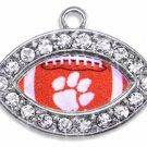 SWW1457SC - SILVER TONE AND CRYSTAL  MINI-FOOTBALL SHAPED CHARMS WIT