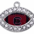 SWW1463SC - CRYSTAL  MINI-FOOTBALL SHAPED CHARMS WITH  THE UNIVERSITY OF SOUTH CAROLINA LOGO