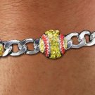 SWW21229B - SILVER  TONE CHAIN LINK BRACELET WITH  THREE CRYSTAL MINI SOFTBALL CHARMS