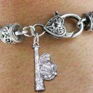 SWW1470SB3 - SILVER TONE AND CLEAR  CRYSTAL BALL AND CAP CHARM ON  HEART LOBSTER CLASP BRACELET