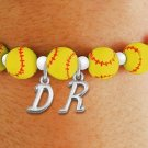 SWW19766B - YELLOW STRETCH SOFTBALL THEMED CHARM BRACELET WITH YOUR  OWN PERSONALIZED INITIALS ADDED