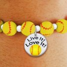 "SWW19773B - YELLOW SOFTBALL  THEMED CHARM BRACELET WITH A  ""LIVE IT! LOVE IT!"" SOFTBALL DISK CHARM"