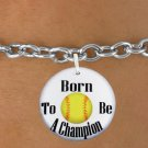 "SWW1206SBCHILD - ""BORN TO BE A CHAMPION"" SOFTBALL CHARM  & CHILDRENS BRACELET"