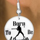 """SWW1143SE - """"BORN TO BE A CHAMPION"""" SOFTBALL  CHARM EARRINGS"""