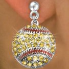 SWW973SE2 - YELLOW AUSTRIAN  CRYSTAL SOFTBALL CHARM  EARRINGS